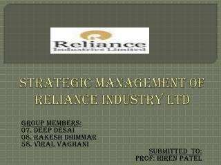 Strategic management of reliance industry ltd