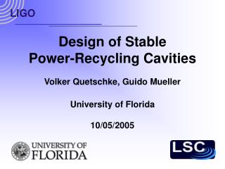 Design of Stable Power-Recycling Cavities