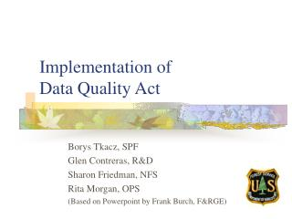 Implementation of  Data Quality Act
