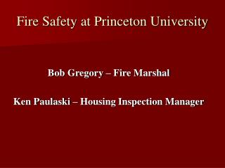 Fire Safety at Princeton University