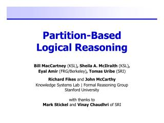 Partition-Based Logical Reasoning