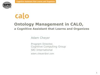 Ontology Management in CALO,  a Cognitive Assistant that Learns and Organizes
