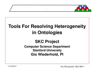 Tools For Resolving Heterogeneity in Ontologies SKC Project Computer Science Department