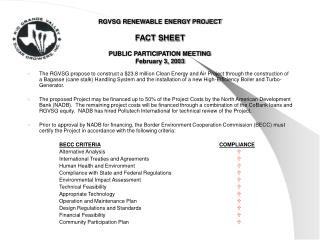 RGVSG RENEWABLE ENERGY PROJECT FACT SHEET PUBLIC PARTICIPATION MEETING February 3, 2003