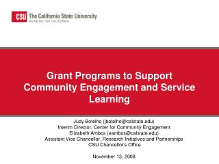 Grant Programs to Support Community Engagement and Service Learning
