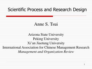 Anne S. Tsui  Arizona State University Peking University Xi an Jiaotung University International Association for Chinese