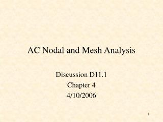 AC Nodal and Mesh Analysis