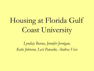 Housing at Florida Gulf Coast University
