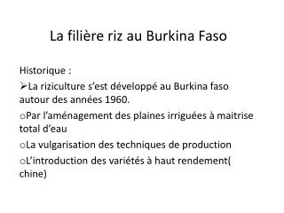 La fili�re riz au Burkina Faso