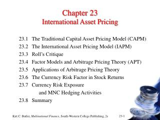 Chapter 23 International Asset Pricing