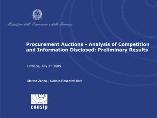Procurement Auctions - Analysis of Competition and Information Disclosed: Preliminary Results
