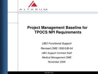 Project Management Baseline for  TPOCS NPI Requirements