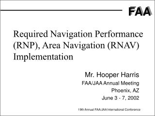 Required Navigation Performance (RNP), Area Navigation (RNAV) Implementation
