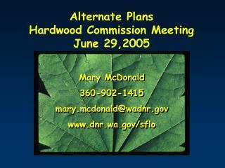 Alternate Plans   Hardwood Commission Meeting  June 29,2005