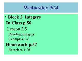 Wednesday 9/24