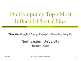 On Computing Top- t  Most Influential Spatial Sites