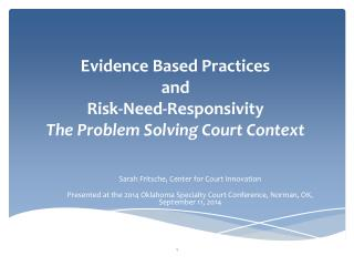 Evidence Based Practices  and Risk-Need- Responsivity The Problem Solving Court Context