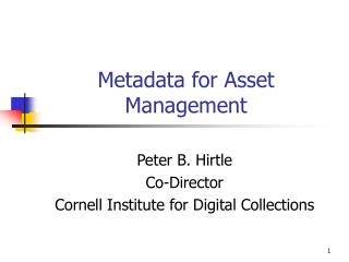 Metadata for Asset Management
