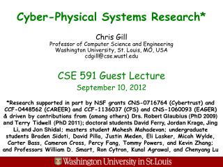 Cyber-Physical Systems Research*