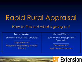 Rapid Rural Appraisal How to find out what's going on!