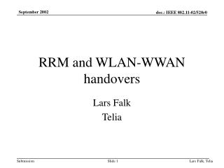 RRM and WLAN-WWAN handovers