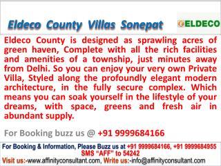 Eldeco County Villas sector 19 Sonepat @ 09999684166