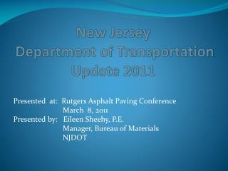 New Jersey  Department of Transportation  Update 2011