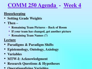 COMM 250 Agenda   -   Week 4