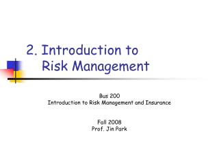 2. Introduction to      Risk Management