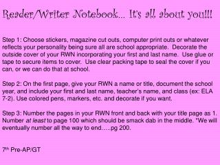 Reader/Writer Notebook… It's all about you!!!
