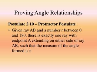Proving Angle Relationships