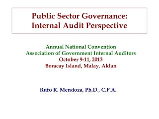 Public Sector Governance:  Internal Audit Perspective