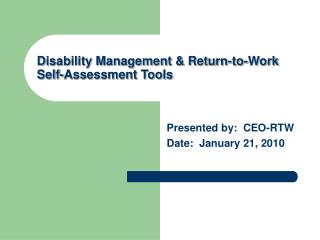 Disability Management & Return-to-Work Self-Assessment Tools