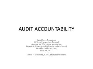AUDIT ACCOUNTABILITY
