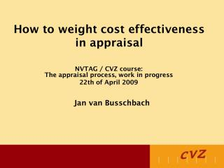 How to weight cost effectiveness in appraisal