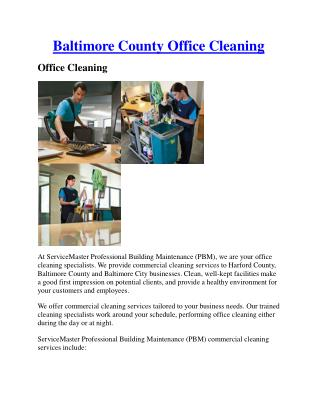 Baltimore county office cleaning