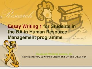 Essay Writing 1  for Students in the BA in Human Resource Management programme