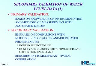 SECONDARY VALIDATION OF WATER LEVEL DATA (1)