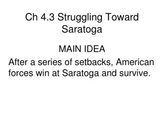 Ch 4.3 Struggling Toward Saratoga