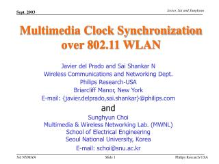 Multimedia Clock Synchronization over 802.11 WLAN