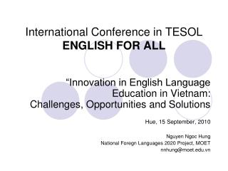 International Conference in TESOL ENGLISH FOR ALL