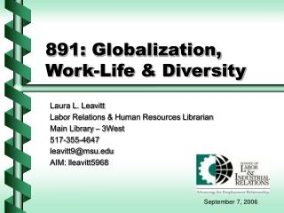 891: Globalization, Work-Life & Diversity