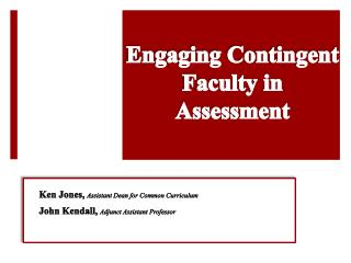 Engaging Contingent Faculty in Assessment