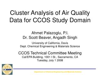 Cluster Analysis of Air Quality Data for CCOS Study Domain