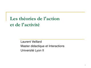 Les th ories de laction et de lactivit