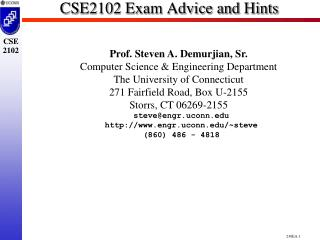 CSE2102 Exam Advice and Hints