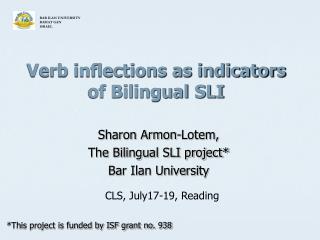Verb inflections as indicators of Bilingual SLI