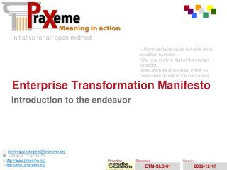 Enterprise Transformation Manifesto