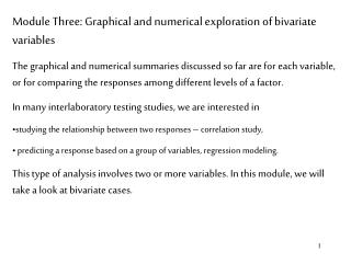 Module Three: Graphical and numerical exploration of bivariate variables