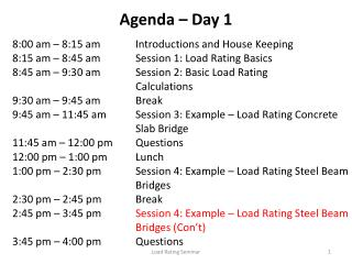 Agenda � Day 1